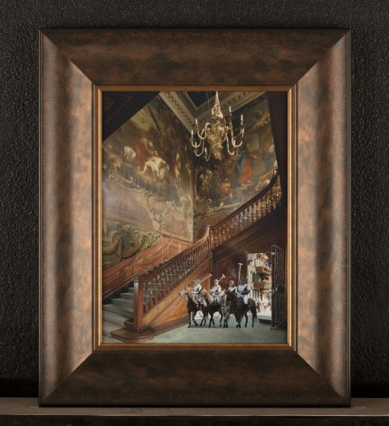 """Baroque Polo Stable"" Collage on paper, 12 x16 inches, Signed"