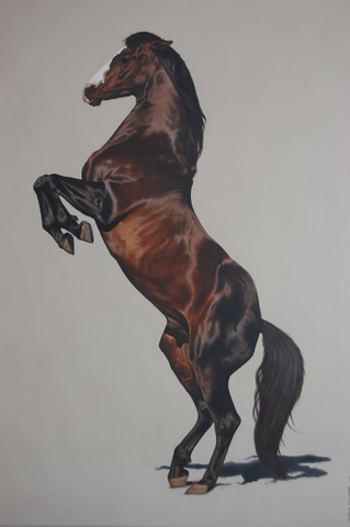 "Horse Rearing Up, oil on canvas, 36"" x 48"""