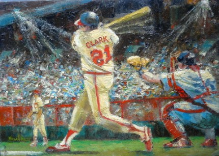 """Baseball"" Oil on canvas board, 10 x 14 inches, Signed"