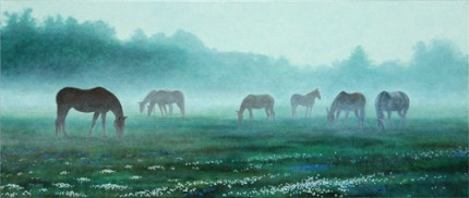 """Misty Dawn, Newbury, NH"" oil on canvas, 24 x 48 inches"