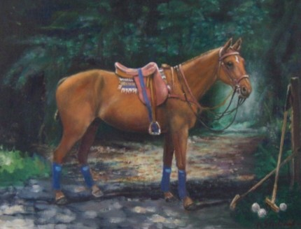 """Canareo - Polo Pony"" Oil on board, 21 x 18 inches, Signed"