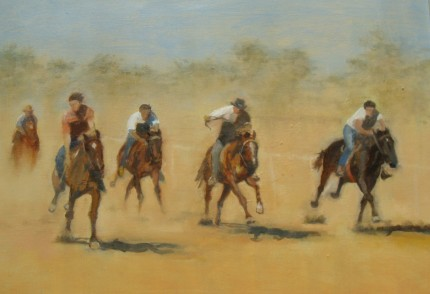 """Racing in Austrailia"" Oil on board, 30 x 25 inches, Signed"