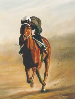 """At The Gallop, Dubai"" Oil on stretched canvas"