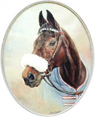 """Red Rum"" Oil on oval stretched canvas, 20 x 16 inches, Signed, Bespoke frame. H&S portrait of the British Legend of the turf, Red Rum, following his death in October 1995. Published in 1996 as a Worldwide signed limited edition of 365 prints (one for each month of Red Rum's life) and advertised full page in the Aintree Race Card, Martell Grand National Meeting, in March the same year."