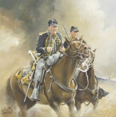 """Two Troopers"" 2011, Series: A Tribute in Oils to Horses at War, Oil on canvas-covered wooden panel, 12 x 12 inches, Signed, Bespoke frame"