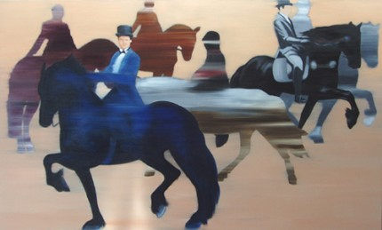 """Dressage Anyone?"" Oil on canvas, 36 x 60 inches"