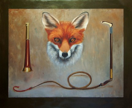 """Fox Mask"" Oil on canvas, 48 x 60 inches, Signed"
