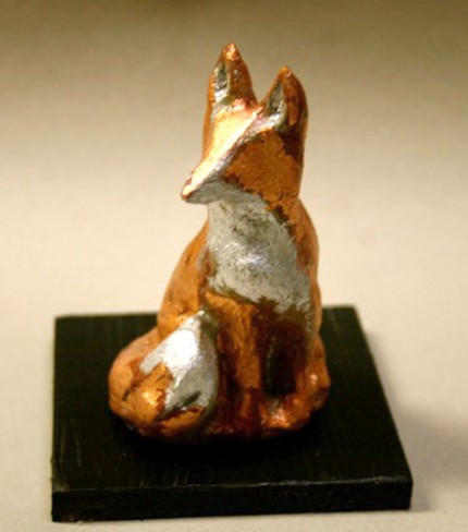 """Little Red Fox"" Limited Edition Artist Proof of 25, Copper and silver leaf concrete, 2.25 x 2 x 3.5 inches, Signed on the bottom of work"