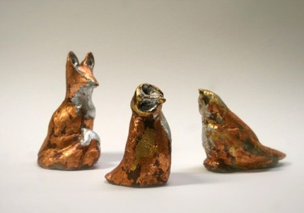 """Little Critters"" Silver/ Copper and gold leaf concrete"