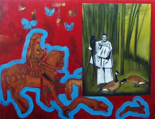 """St. Eustace & Pierrot"" Oil on canvas, 47 x 61 inches"