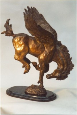 """The Dreamer"" Bronze, 2 A/P, Edition of 12, 21 x 20 x 14 inches, The Dreamer is an alternate artist proof of ""Dare to Dream."""