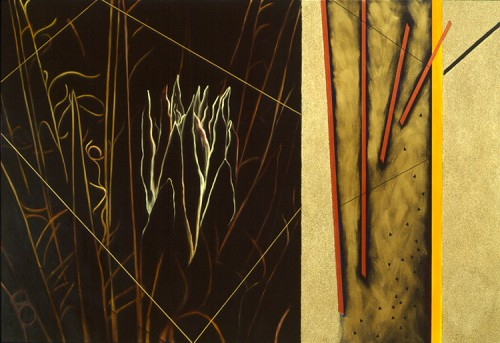 """First Light"" Diptych, Oil/Alkyd/Sand on canvas, 66 x 96 inches, Signed"