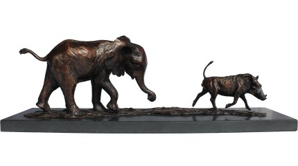 Baby Elly and Warthog, Bronze, Edition of 12, 16 x 51 x 14 cm