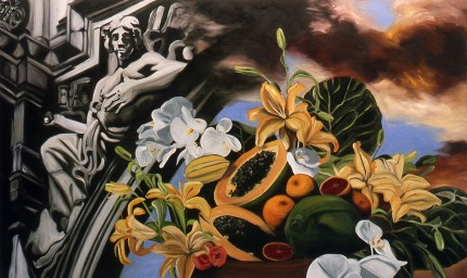 """Papayas & Daylilies"" Oil on canvas, 36 x 60 inches, Signed"
