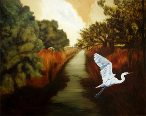"""Wetlands with Egret"" Oil on canvas, 48 x 60 inches, Signed"