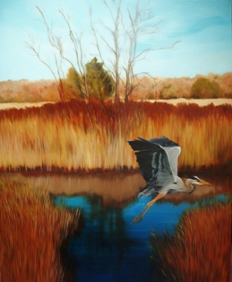 """Wetlands with Heron"" Oil on canvas, 66 x 56 inches, Signed"