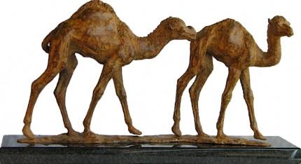 Baby Camels, Bronze, 19 x 38 x 12 cm