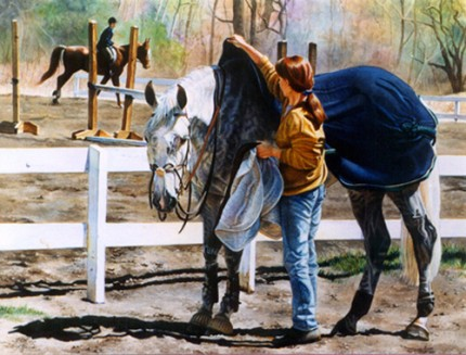 """By the Warm-up Ring"" Watercolour, 20 x 27 inches"