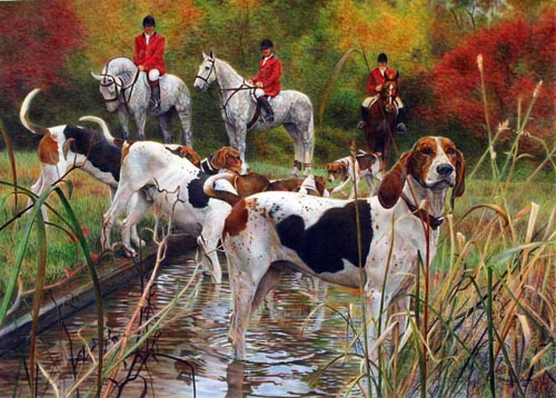 """Gunner and the Smithtown Hunt"" Watercolour, 22 x 30.5 inches"