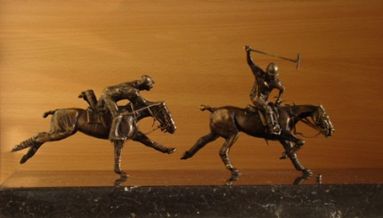 """Hook that Guy"" Bronze on marble, Limited production of 20 units, 8 x 16 x 8 inches, Signed"