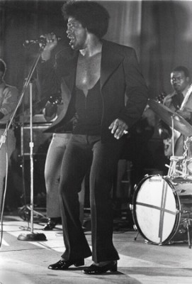 "James Brown performing at Rikers Island, NYC, 8x10"" silver print"