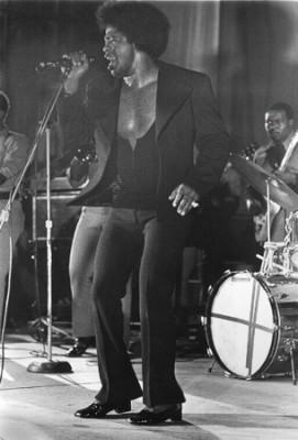 "James Brown performing at Rikers Island, NYC, 8x10"" silver print"