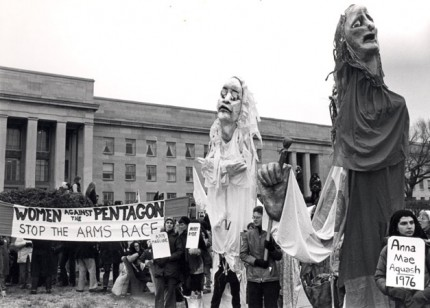 "Puppets at Pentagon, Women's Pentagon Action, 1980, 8x10"" silver print"
