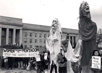 "Puppets at Pentagon, Women's Pentagon Action, 1980, 8x10"" silver print"