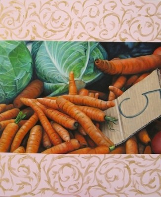 """Carrots"" Still Life Series, Oil on canvas, 46 x 38 inches, Signed"