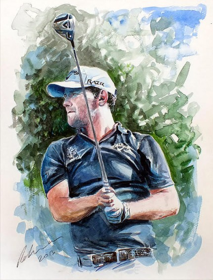 """Brandon Grace DP world Tour Championship 2013 18th Tee"" Watercolour, Signed"