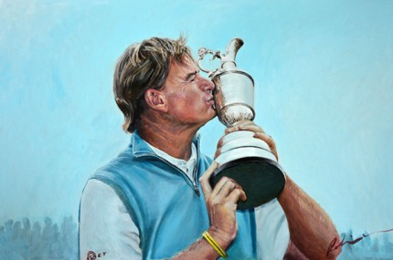 """Ernie Wins The Open For A Second Time"" Acrylic on Canvas, 120 x 80 cm, Signed"
