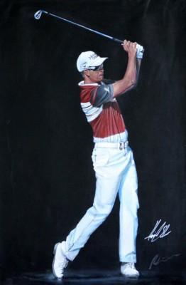 """Henrik Stenson 2014 Dubai Desert Classic"" Signed by Henrik, Acrylic on canvas 120 x 80 cm, Signed"