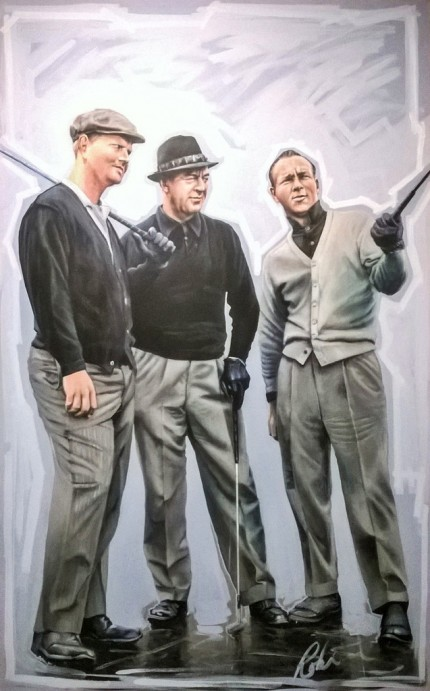 """Mr. Nicklaus, Snead and Palmer"" Acrylic on canvas, 240 x 120 cm, Signed"