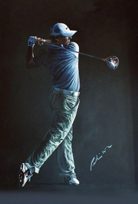 """Rory 2013 DP World Tour Championship"" Acrylic on canvas, 120 x 80 cm, Signed"