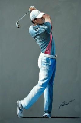 """Rory 2015 Dubai Desert Classic"" Acrylic on canvas, 120 x 80 cm, Signed"