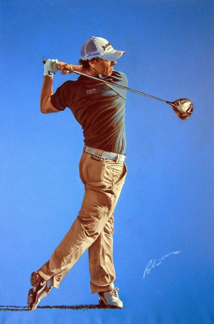 """Rory McIlroy, 2011"" Acrylic on canvas, 48 x 32 inches, Signed"