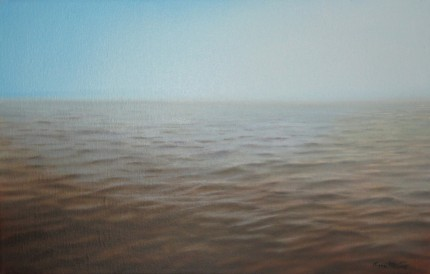 """Deep Ocean"" The Water Series, Oil on canvas, 14 x 22 inches, Signed"