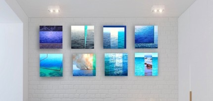 """Ocean Tales Series"" (Set of 8) Oil on canvas, 12 x 12 x 1.5 inches, Signed"