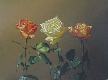 """Three Roses"" Still Life Series, Oil on canvas, 36 x 48 inches, Signed"