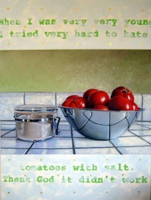 """Tomatoes and Salt"" Still Life Series, Oil on canvas, 48 x 36 inches, Signed"