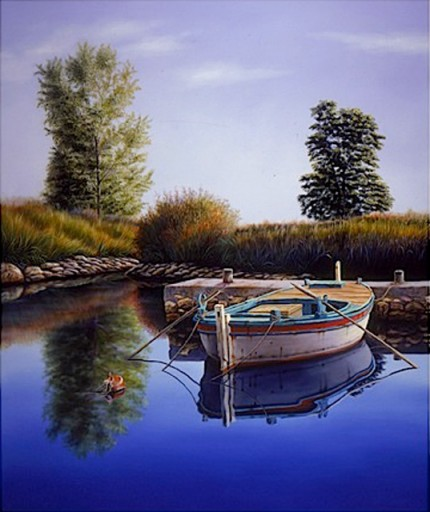 """Where Waters Meet"" The Water Series, Oil on canvas, 72 x 60 inches, Signed"