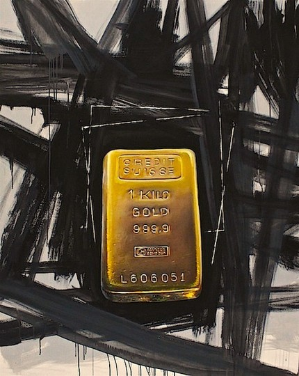 """iGold"" The Gold Series, Oil and Mixed media on canvas, 60 x 48 inches, Signed"