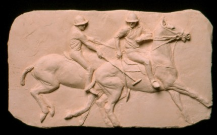 """Encounter"" Fired clay bas relief, 15.5 x 9 inches"