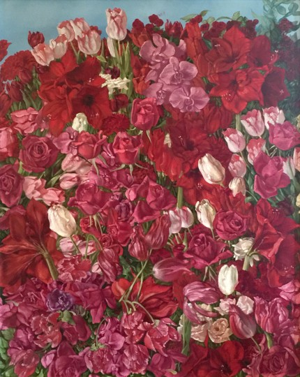 """Flowers"" Oil on canvas, 30 x 24 inches, Signed & Dated"