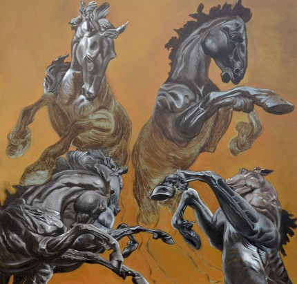 """Four Horse Studies"" 24 x 24 inches, Oil on panel, Signed"