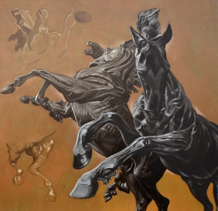 """Horse Studies on Ochre"" Oil on panel, 24 x 24 inches, SIgned"