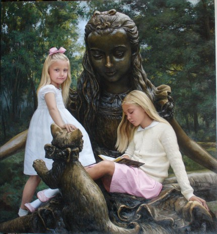 """Visiting Alice"" oil on canvas, 54 x 56 inches"