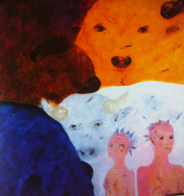 "#363 Cosmic Earth - Bull Series LIII, 1992 - Oil on linen, 76 1/4"" x 79"""