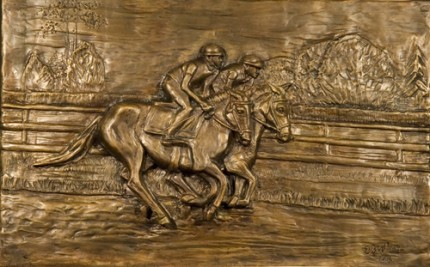 """""""Track Side"""" (Bas Relief), Bronze, 13 x 20 x 2.5 inches"""
