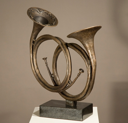 """""""Two Hunting Horns"""" Bronze on black vermont granite, 19 x 17.75 x 9 inches"""